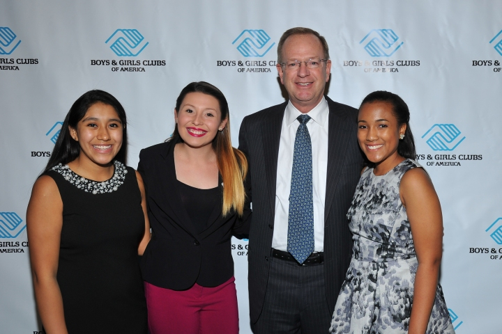 Daniela Suarez, from left, Emily Carvajal, Jim Clark, President and CEO, BGCA, and Whitney Stewart attend the Boys & Girls Club of America Great Futures Gala 2015 on Wednesday, Nov. 4, 2015, in Beverly Hills, Calif. (Photo by Vince Bucci)