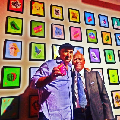 Artist, Alejandro Vigilante, with Partida CEO, Gary Shansby, in front of their new collaborative project launch, Partida Loteria (photo credit: Rochelle Robinson)