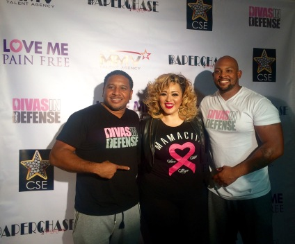 "Divas in Defense co-founders, Cole Parker and Chris Britti with Cecelia ""Mamasita"" of Kday Radio at Divas in Defense Celebrity Funderaising Basketball Game at St. Mary's Academy (photo credit: Rochelle Robinson)"