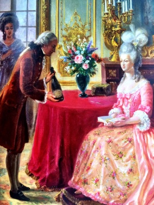Painting of Florens-Louis Heidsieck presenting his cuvee to Queen Marie-Antoinette photo: image from informational booklet)