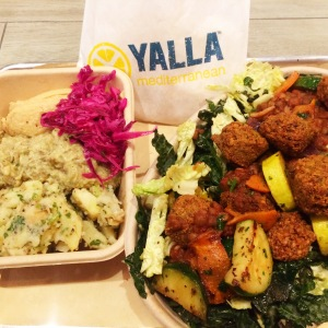 Yalla Mediterranean meal at press event, celebrating their Culver City openning (photo credit: Rochelle Robinson)