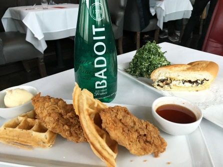 Crossroads Kitchen Chicken and Waffles with Farvarolo Sandwhich and Kale salad (photo credit: Melissa Curtin)