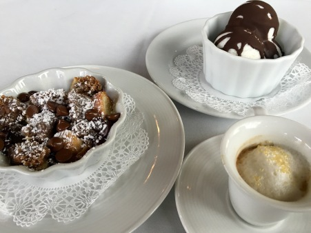 Crossroads Kitchen Bread Pudding, Seasonal Cocunut Sorbet and Esspresso (photo credit: Melissa Curtin)