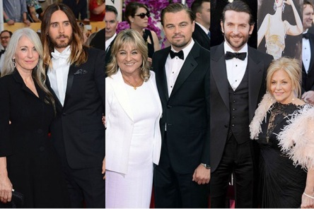 Star studded Hollywood actors (Jared Leto, Leonardo DiCaprio, Bradley Cooper) accompanied by thier mamas on the red carpet of the Oscars