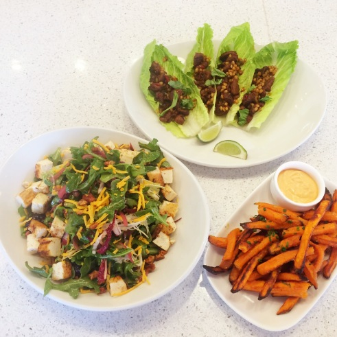 LYFE Kitchen Farmers Salad, Vietnamese Lettuce Wraps and Sweet Potato Fries (photo credit: Rochelle Robinson)