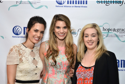 Torrey DeVitto, Rachel McCord and Jamie Stone posed together at the Philosophy and NAMI #stigmafree luncheon in honor of Mental Health Awareness month and the Hope and Grace Initiative