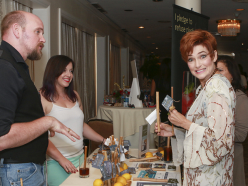 Caroline Hennessy was all smiles at Debbie Durkin's EcoLuxe Luxury Lounge