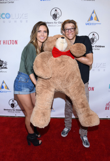 New mom Audrina Patrdige took selfies with Shriner's ambassador Marius Woodward at Debbie Durkin's EcoLuxe Luxury Lounge supporting Shriner's Hospital for Children - Los Angeles at The Beverly Hilton in Beverly Hills, CA on Saturday, September 17th.