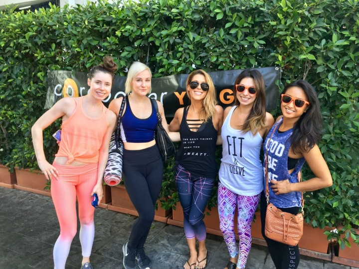 Influencers & guests enjoyed an inspiring morning yoga session with CorePower Yoga at the 'Fit & Olive' event, followed by a healthy light Mediterranean brunch hosted at Fig & Olive Melrose Place in West Hollywood, CA on Saturday, October 1st, 2016.