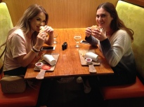 Lindsay and Polina enjoy the new Beyond Burger at the Hollywood Veggie Grill on Oct. 25.