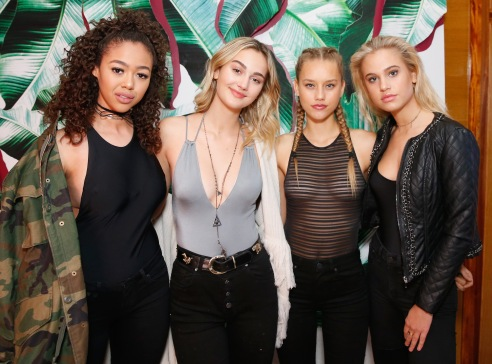 LOS ANGELES, CA - JANUARY 25: Models Bella Harris (L) Meredith Mickelson (2nd from L) and Ally Johnson (R) attend L.A. Hearts + PacSun celebrate 2017 Spring Swimwear Collection at Delilah on January 25, 2017 in Los Angeles, California. (Photo by Rochelle Brodin/Getty Images for L.A. Hearts/PacSun)