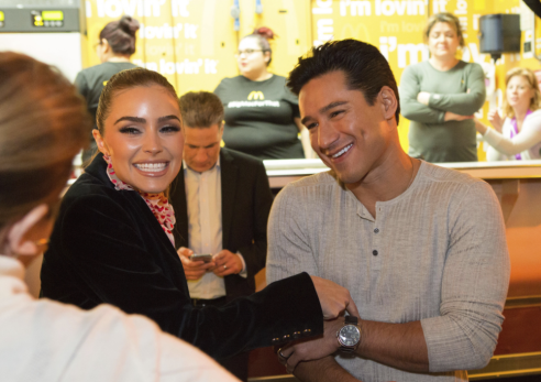 Mario Lopez and Olivia Culpo attend McDonald's launch of the Grand Mac and Mac Jr. Sandwiches in Hollywood, CA.