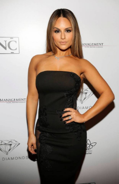 Singer, Pia Toscano arrives at the Annual NHL All Star Party wearing a diamond encrusted necklace by Sky Diamonds